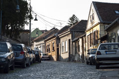 Zemun quarter in Belgrade. Belgrade: street view of the old Zemun quarter with its typical shingle pavement Royalty Free Stock Image