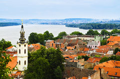 Zemun rooftops in Belgrade stock photography
