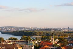 Zemun rooftops and Belgrade panorama Royalty Free Stock Images