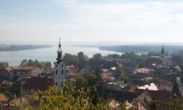Zemun, Serbia: Morning landscape of Gardos and Danube river. Picturesque and scenic morning landscape of landscape of Gardos, the old quarter of Zemun, Serbia Royalty Free Stock Photo