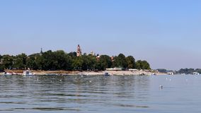 Zemun,Serbia,view from the river Danube. With seagulls in the front Royalty Free Stock Photos