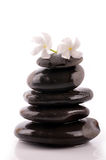 Zen. Stacked zen stones , jasmine flower on zen Stock Photo