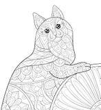 Το ενήλικο χρωματίζοντας βιβλίο, σελιδοποιεί μια χαριτωμένη γάτα με την εικόνα διακοσμήσεων για τη χαλάρωση Απεικόνιση ύφους τέχν διανυσματική απεικόνιση