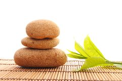 Zen. Stack or tower with green summer leaf showing spa or wellness Stock Photography