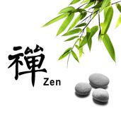 Zen. Bamboo leafs and zen stones isolated on white,The Chinese Word Means zen Royalty Free Stock Photo