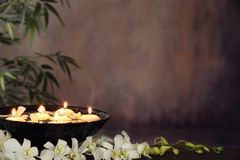 Zen. White orchid flower, burning candle and bamboo leaves on grunge background,Zen concept Stock Image