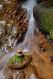 Zen. Stones and leaves over small waterfall background Stock Photos