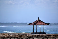 Zen. Alone pavilion on the shore of the Indian Ocean. Bali. Indonesia Royalty Free Stock Photos