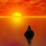 Zen-als zonsondergang Royalty-vrije Stock Afbeeldingen