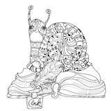 Zen art stylized snail Stock Photography