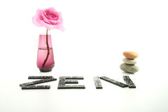 Zen atmosphere, vase and rose Stock Image