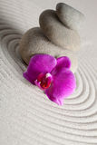Zen Background. A Stack of stones and a orchid on raked sand - a niche zen-like backgorund Stock Images