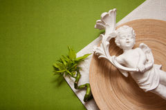 Zen background with bamboo. Spa concept background with empty wooden bowl and green bamboo royalty free stock photography