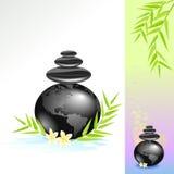 Zen-Badekurort-Welt mit schwarzen Steinen Lizenzfreie Stockbilder