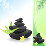 Zen-Badekurort-Welt mit schwarzen Steinen und Bambus-Blättern Lizenzfreies Stockbild