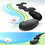 Zen-Badekurort-Welt mit schwarzen Steinen und Lotos-Blume Stockbilder