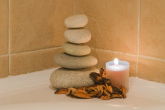 Zen balance on the bath. Stock Images