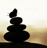 Zen balance stones. Image of zen balance still life, abstract peaceful background, silhouette of stacked round stone and beautiful butterfly on the top, feng Stock Images