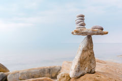 Zen balance of white stones Royalty Free Stock Photography