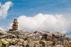 Zen balanced stones in high mountains Stock Image