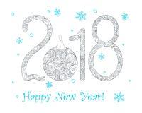 Zen 2018 ball with blue snowflakes Stock Photos