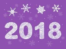 Zen 2018 ball with snowflakes on violet Royalty Free Stock Photos