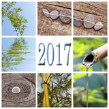 2017, zen bamboo square collage Stock Photos