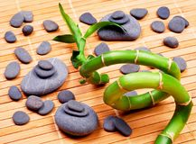 Zen basalt stones and bamboo. Natural concept royalty free stock images