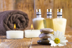 Zen basalt stones and spa oil with candles Stock Image