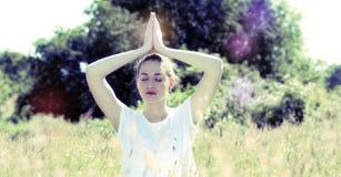 Zen beautiful yoga girl for inner retreat, retro contrast tone Stock Photography