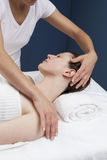 Zen beauty treatment at the spa. Seeking for neck suppleness with massage Stock Photo