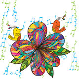 Zen bird flower fabric music card Stock Images