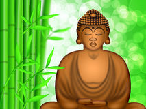 Zen Buddha Meditating by Bamboo Forest Background Royalty Free Stock Image