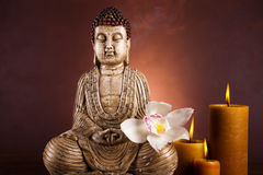 Zen buddha statue, vivid colors, natural tone Royalty Free Stock Image