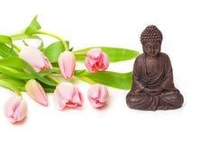 Zen, Buddha, tulipani Fotografia Stock