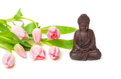 Zen, Buddha, Tulpen Stockfotografie