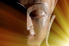 Zen Buddhism Procurar água com varinha de rabdomante raios claros da iluminação espiritual ou como imagens de stock