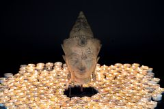 Zen buddhism. Soft serene image of a traditional buddha head sta stock photo
