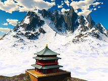 Zen buddhist temple in  mountains Stock Images