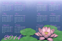 Zen calendar for 2014 - 3D render. Calendar for 2014 with beautiful lotus flower and green leaves on water Royalty Free Stock Image