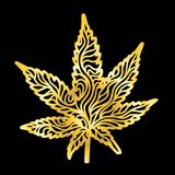 Or Zen Cannabis Leaf Hand-Drawn photo libre de droits
