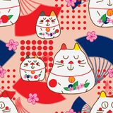 Zen cat Maneki look fan dot decor seamless pattern. This illustration is design and drawing abstract zen cat with Maneki Neko look and fan stylish dotted Stock Image