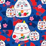 Zen cat Maneki look fan mountain sun sakura seamless pattern. This illustration is abstract zen cat Maneki Neko look with fan, mountain, Japan red sun and Sakura Stock Image