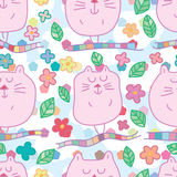 Zen cat zen too long fat seamless pattern Royalty Free Stock Photo