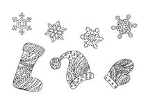 Zen christmas things and snowflakes Royalty Free Stock Photos