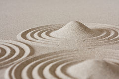 Zen circle. Detail of zen sand garden Royalty Free Stock Photos