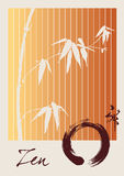 Zen circle and bamboo illustration Royalty Free Stock Image