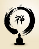 Zen circle and Buddha illustration Royalty Free Stock Images