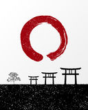 Zen circle and Japan landscape illustration Stock Photo