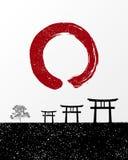 Zen circle and Japan landscape illustration Stock Photo